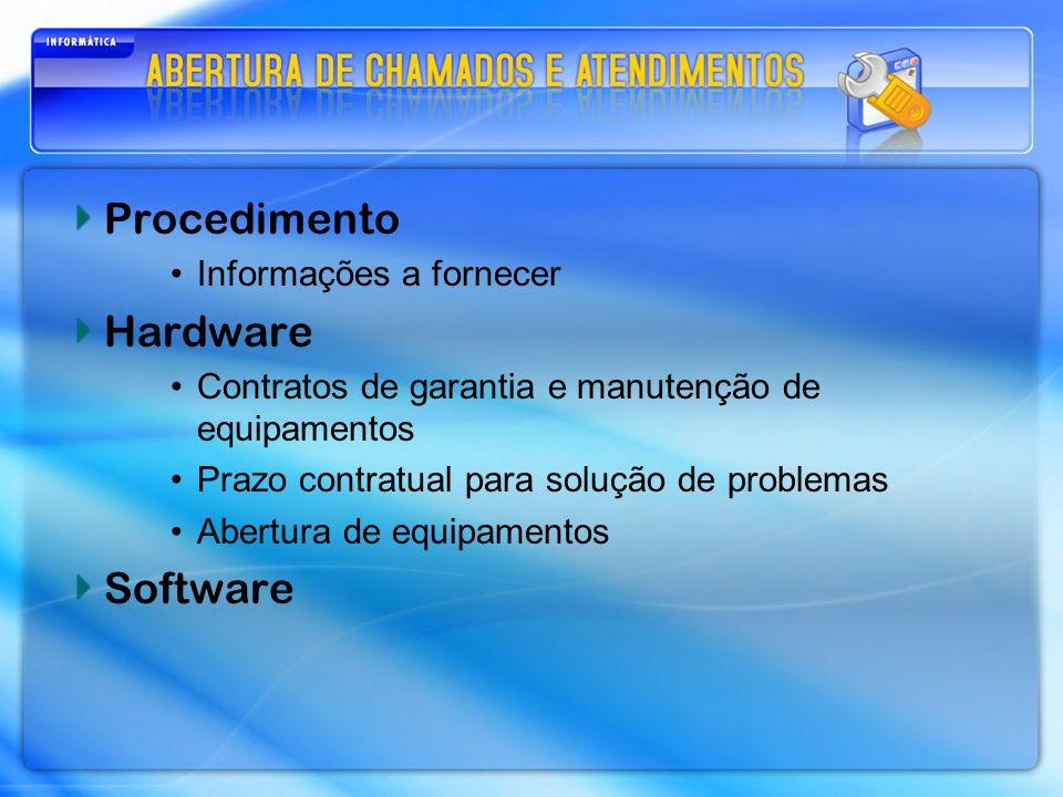 Procedimento Hardware Software Informações a fornecer