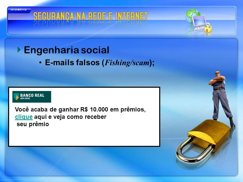 Engenharia social E-mails falsos (Fishing/scam);