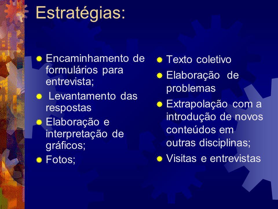 Estratégias: Encaminhamento de formulários para entrevista;