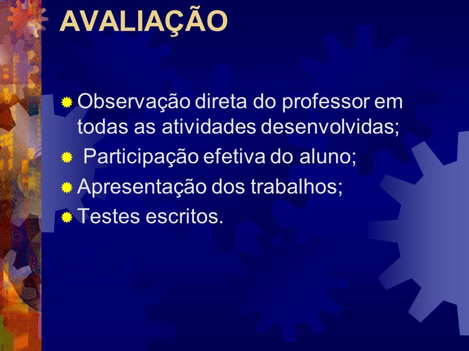 AVALIAÇÃO Observação direta do professor em todas as atividades desenvolvidas; Participação efetiva do aluno;