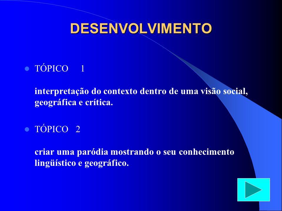 DESENVOLVIMENTO TÓPICO 1 interpretação do contexto dentro de uma visão social, geográfica e crítica.