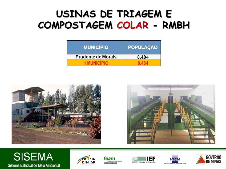 USINAS DE TRIAGEM E COMPOSTAGEM COLAR - RMBH