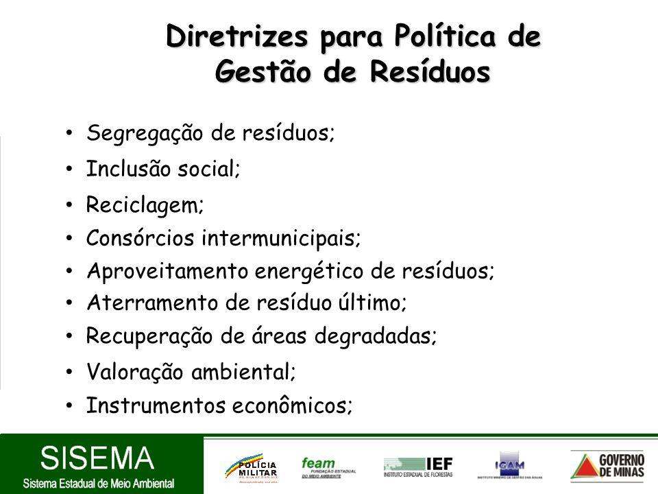 Diretrizes para Política de Gestão de Resíduos