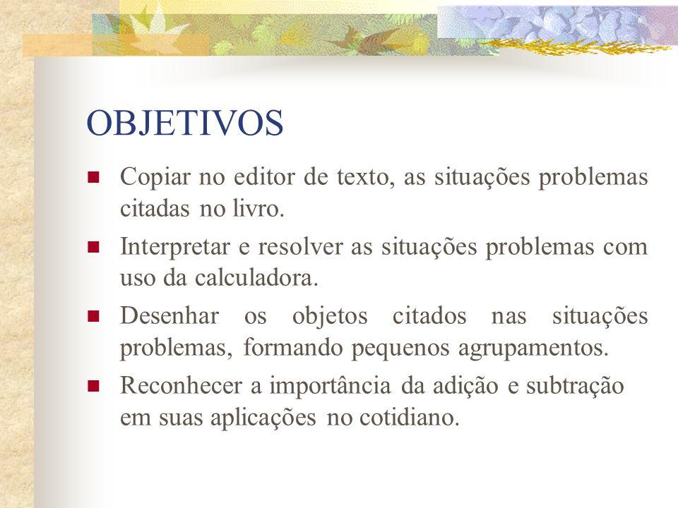 OBJETIVOS Copiar no editor de texto, as situações problemas citadas no livro. Interpretar e resolver as situações problemas com uso da calculadora.
