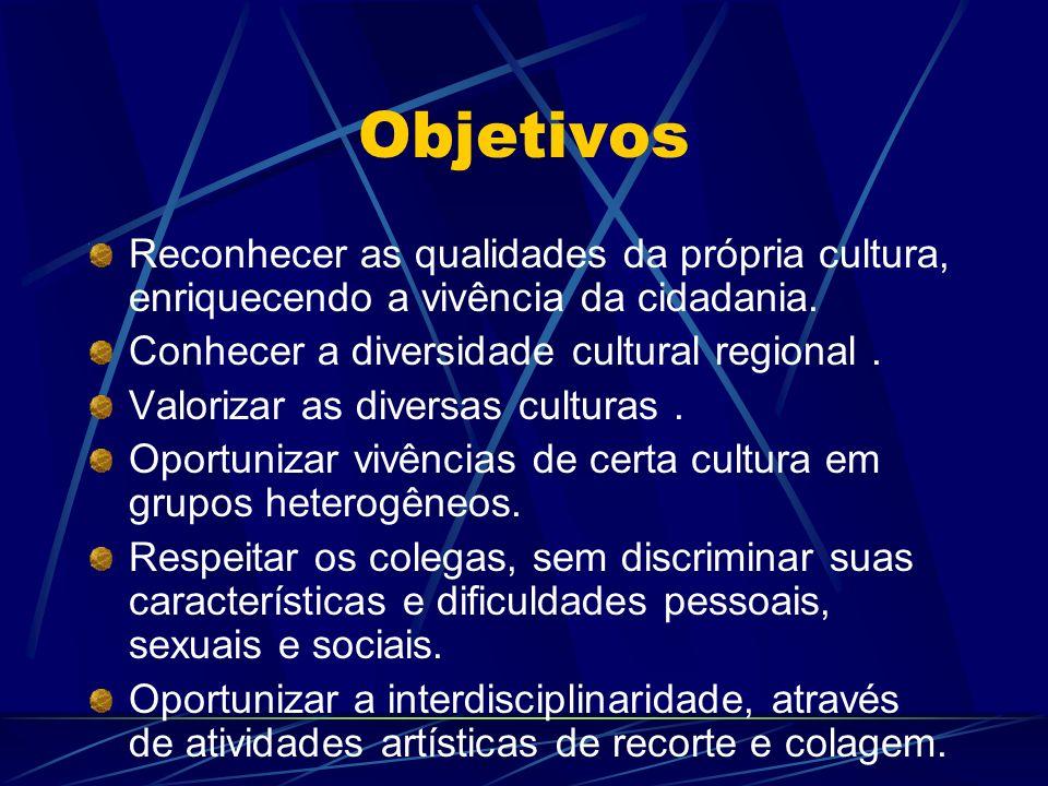 Objetivos Reconhecer as qualidades da própria cultura, enriquecendo a vivência da cidadania. Conhecer a diversidade cultural regional .