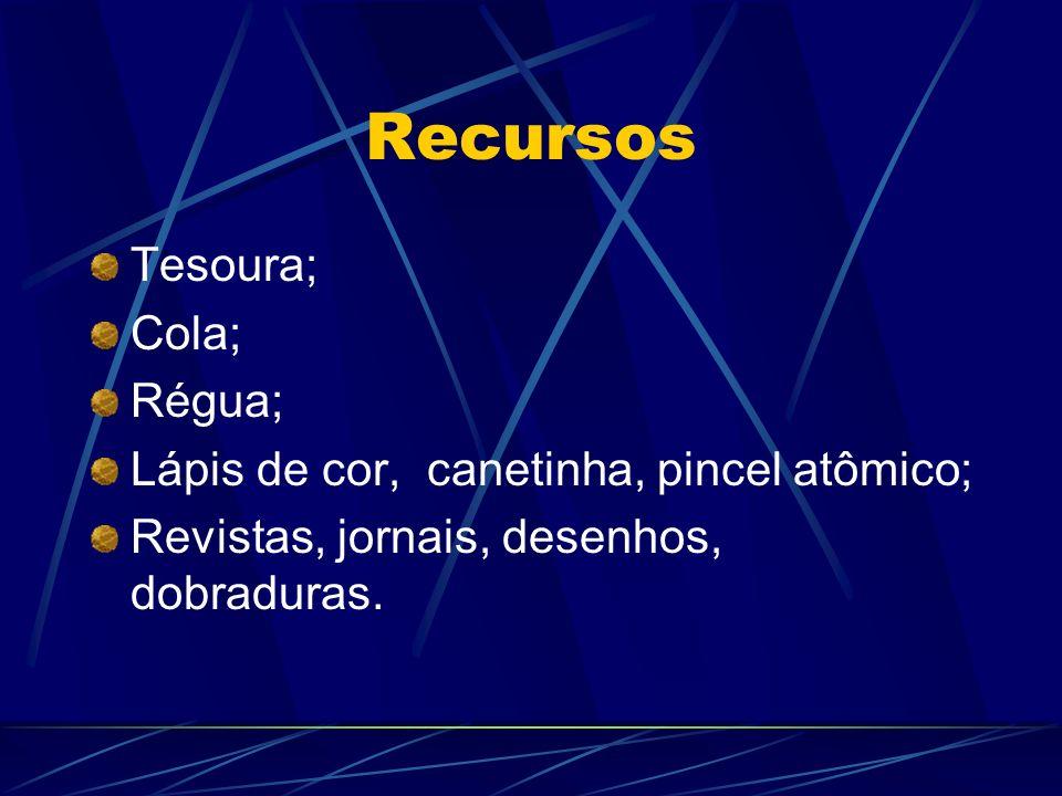 Recursos Tesoura; Cola; Régua;