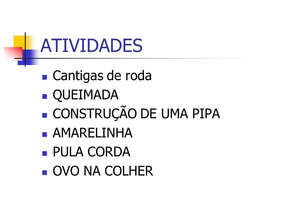 ATIVIDADES Cantigas de roda QUEIMADA CONSTRUÇÃO DE UMA PIPA AMARELINHA