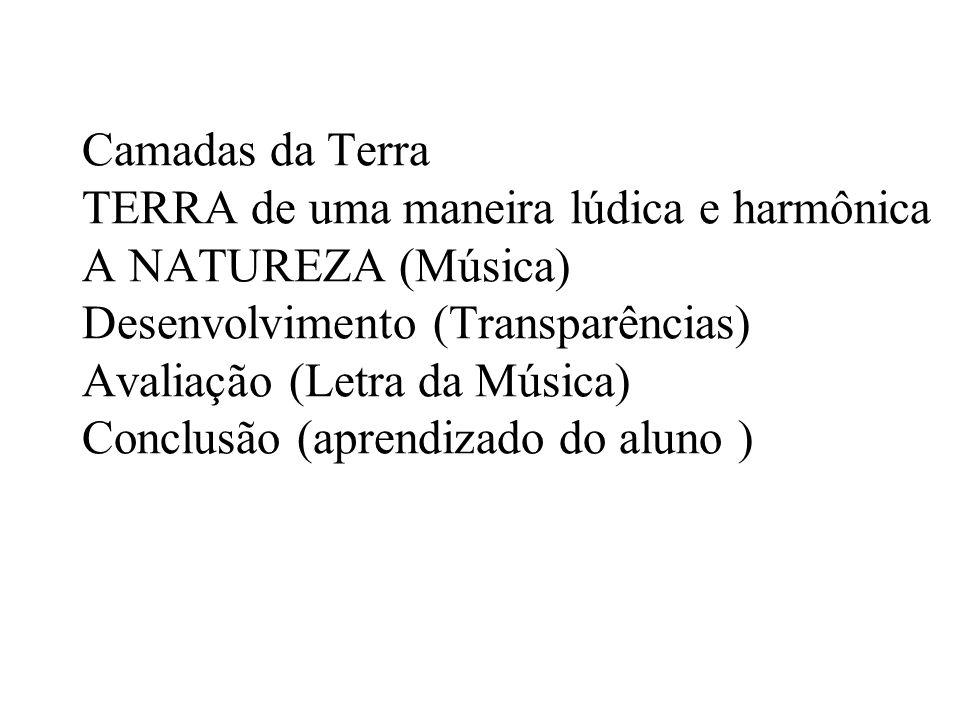 Camadas da Terra TERRA de uma maneira lúdica e harmônica A NATUREZA (Música) Desenvolvimento (Transparências) Avaliação (Letra da Música) Conclusão (aprendizado do aluno )