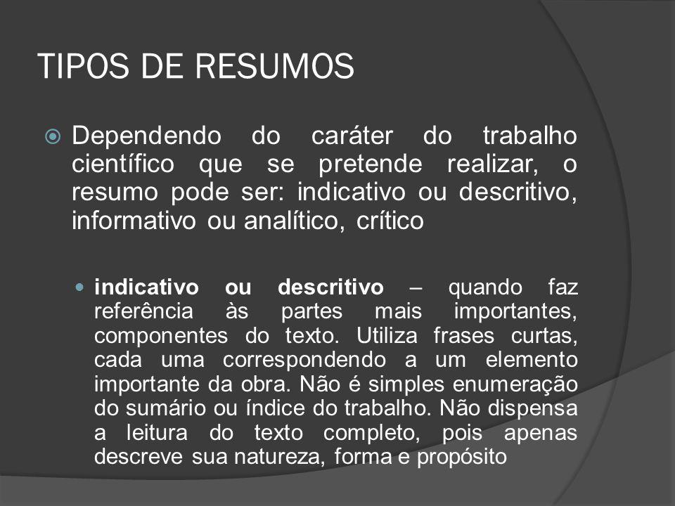 TIPOS DE RESUMOS