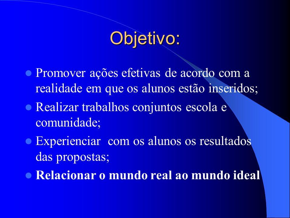 Objetivo:Promover ações efetivas de acordo com a realidade em que os alunos estão inseridos; Realizar trabalhos conjuntos escola e comunidade;