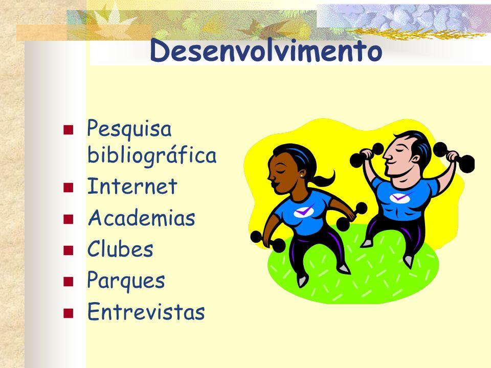 Desenvolvimento Pesquisa bibliográfica Internet Academias Clubes