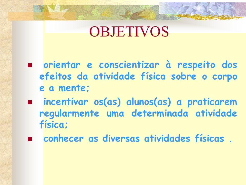 OBJETIVOS orientar e conscientizar à respeito dos efeitos da atividade física sobre o corpo e a mente;