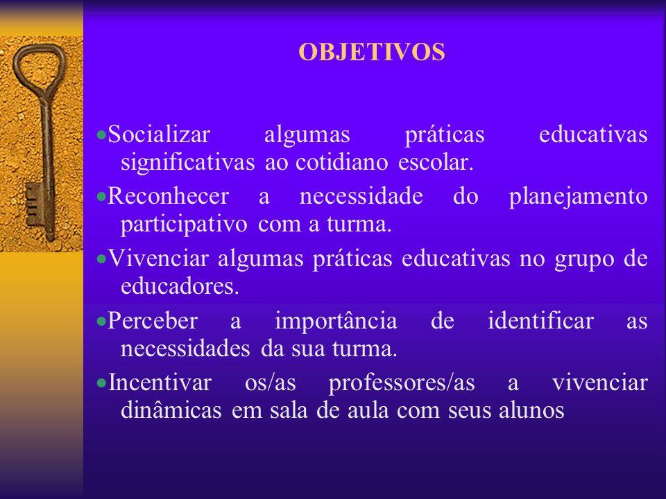 OBJETIVOSSocializar algumas práticas educativas significativas ao cotidiano escolar.