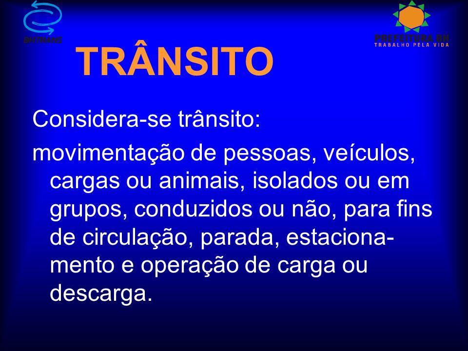 TRÂNSITO Considera-se trânsito: