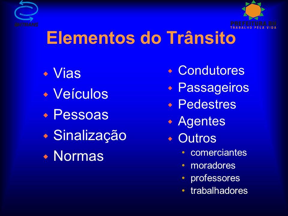 Elementos do Trânsito Vias Veículos Pessoas Sinalização Normas