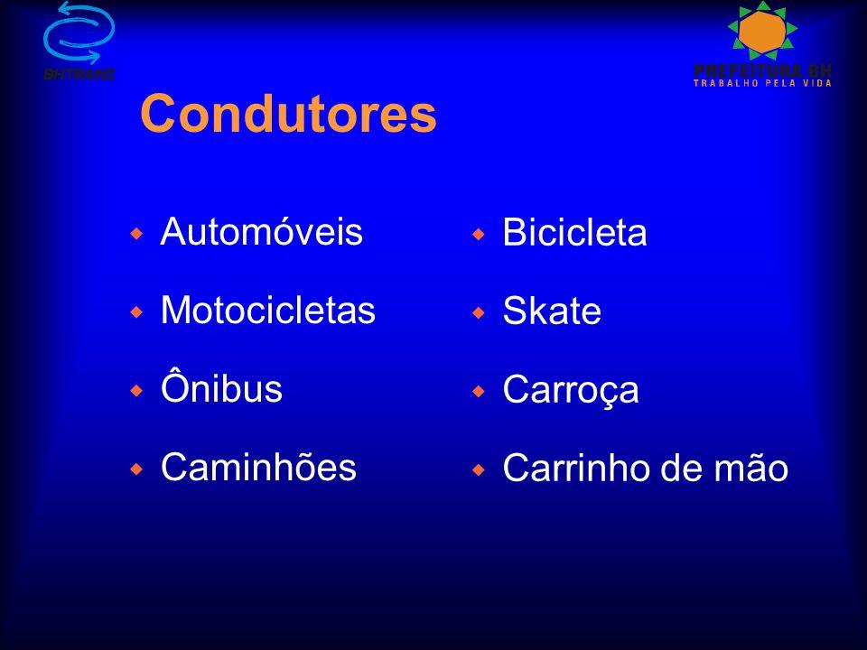 Condutores Automóveis Bicicleta Motocicletas Skate Ônibus Carroça