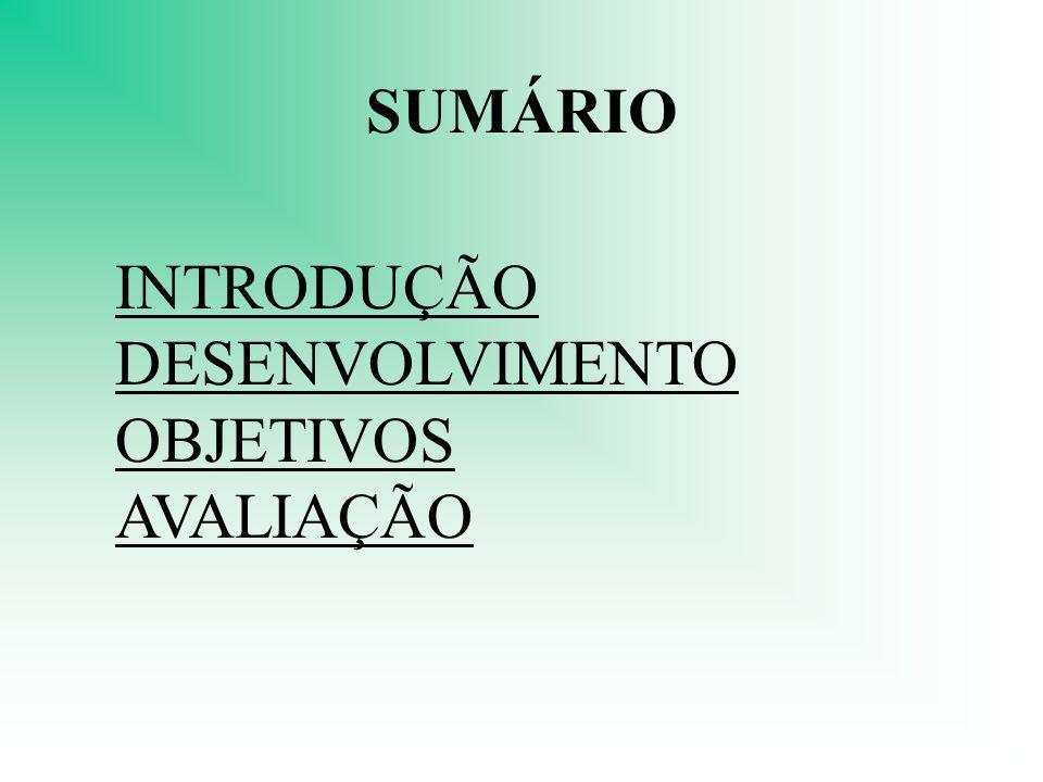 SUMÁRIO INTRODUÇÃO DESENVOLVIMENTO OBJETIVOS AVALIAÇÃO
