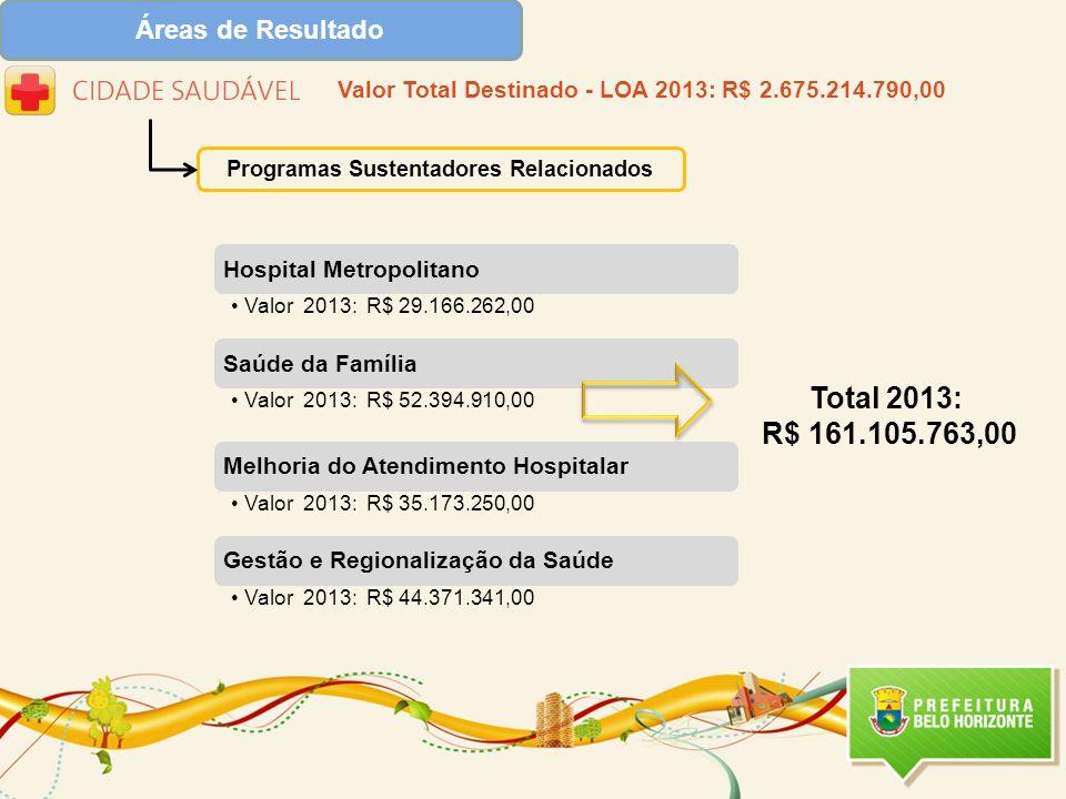Total 2013: R$ 161.105.763,00 Áreas de Resultado