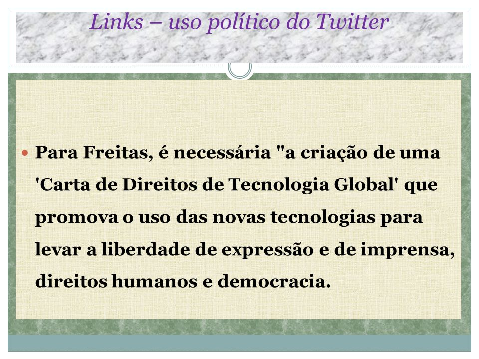 Links – uso político do Twitter