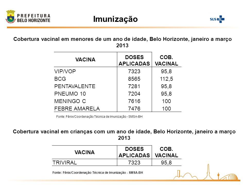 Imunização Cobertura vacinal em menores de um ano de idade, Belo Horizonte, janeiro a março 2013. VACINA.