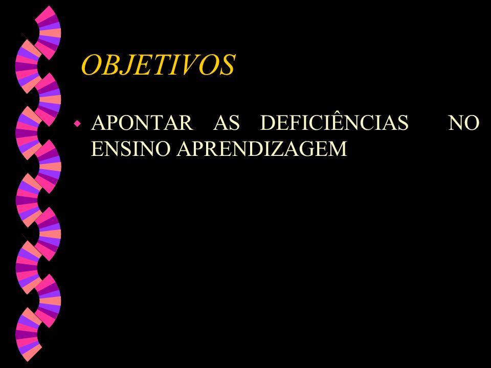 OBJETIVOS APONTAR AS DEFICIÊNCIAS NO ENSINO APRENDIZAGEM