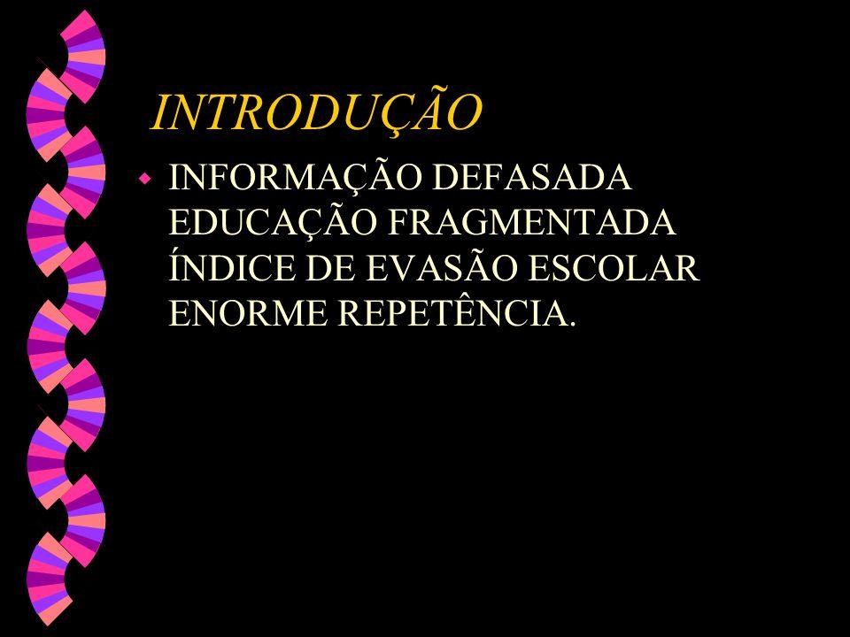 INTRODUÇÃO INFORMAÇÃO DEFASADA EDUCAÇÃO FRAGMENTADA ÍNDICE DE EVASÃO ESCOLAR ENORME REPETÊNCIA.