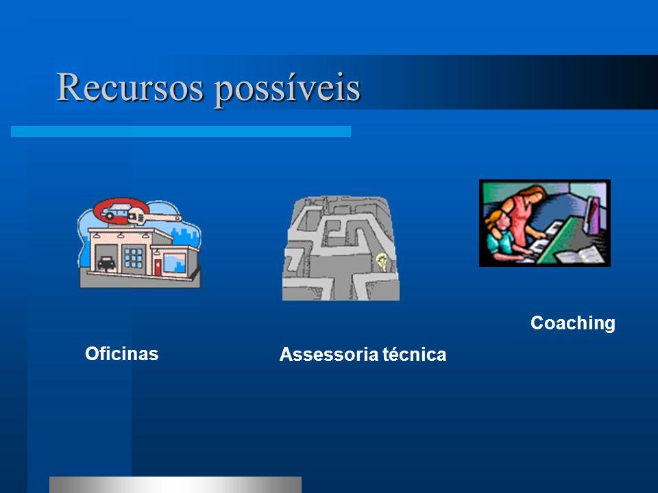Recursos possíveis Coaching Oficinas Assessoria técnica