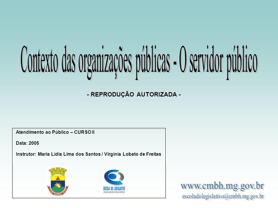 Contexto das organizações públicas - O servidor público