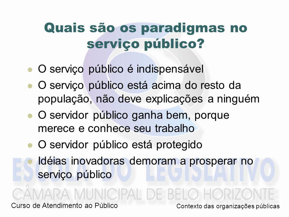 Quais são os paradigmas no serviço público