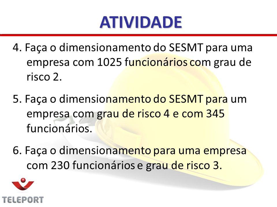 ATIVIDADE 4. Faça o dimensionamento do SESMT para uma empresa com 1025 funcionários com grau de risco 2.