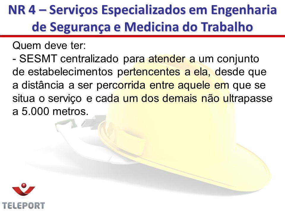 NR 4 – Serviços Especializados em Engenharia de Segurança e Medicina do Trabalho