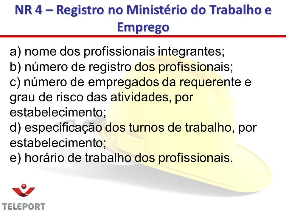 NR 4 – Registro no Ministério do Trabalho e Emprego