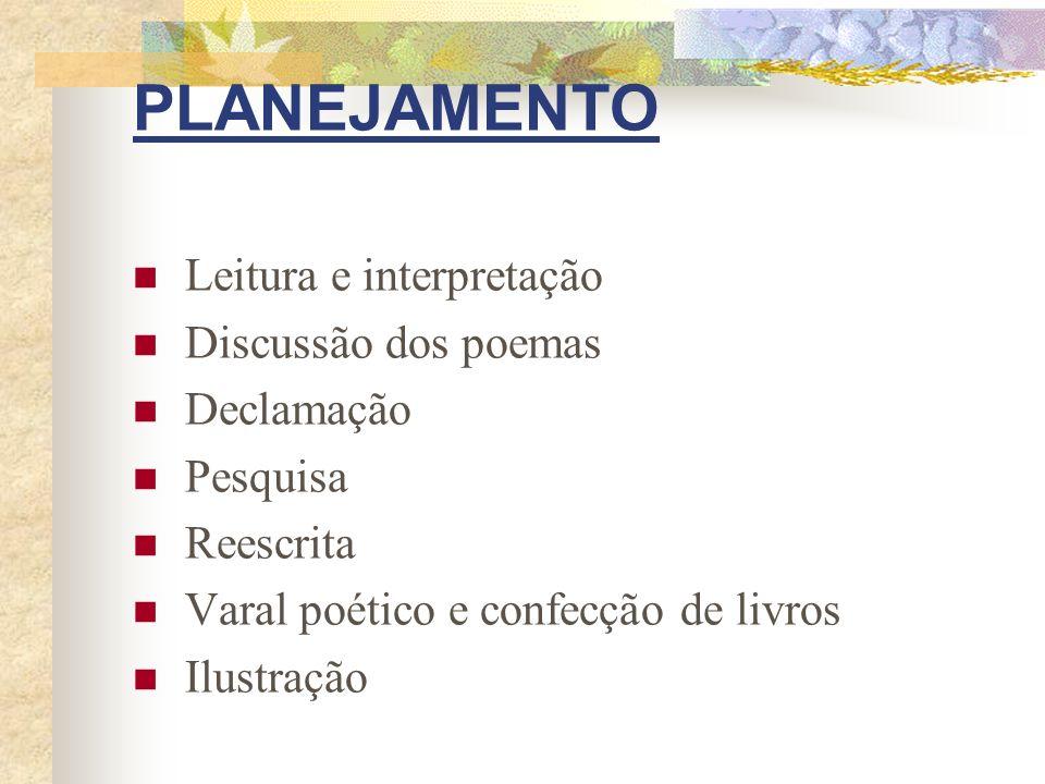 PLANEJAMENTO Leitura e interpretação Discussão dos poemas Declamação