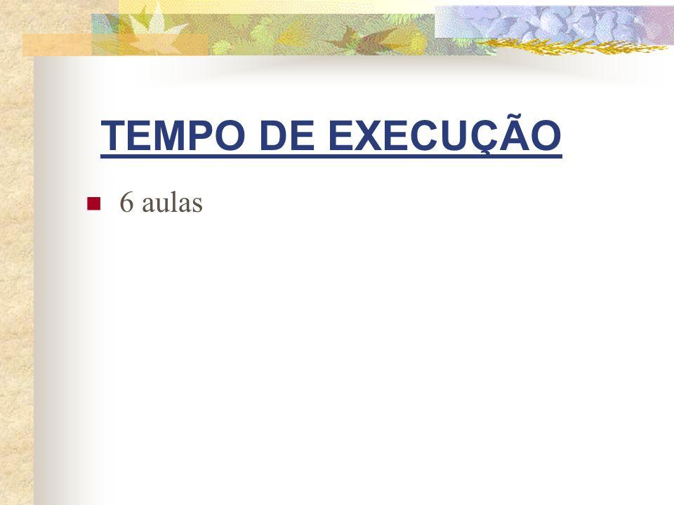 TEMPO DE EXECUÇÃO 6 aulas