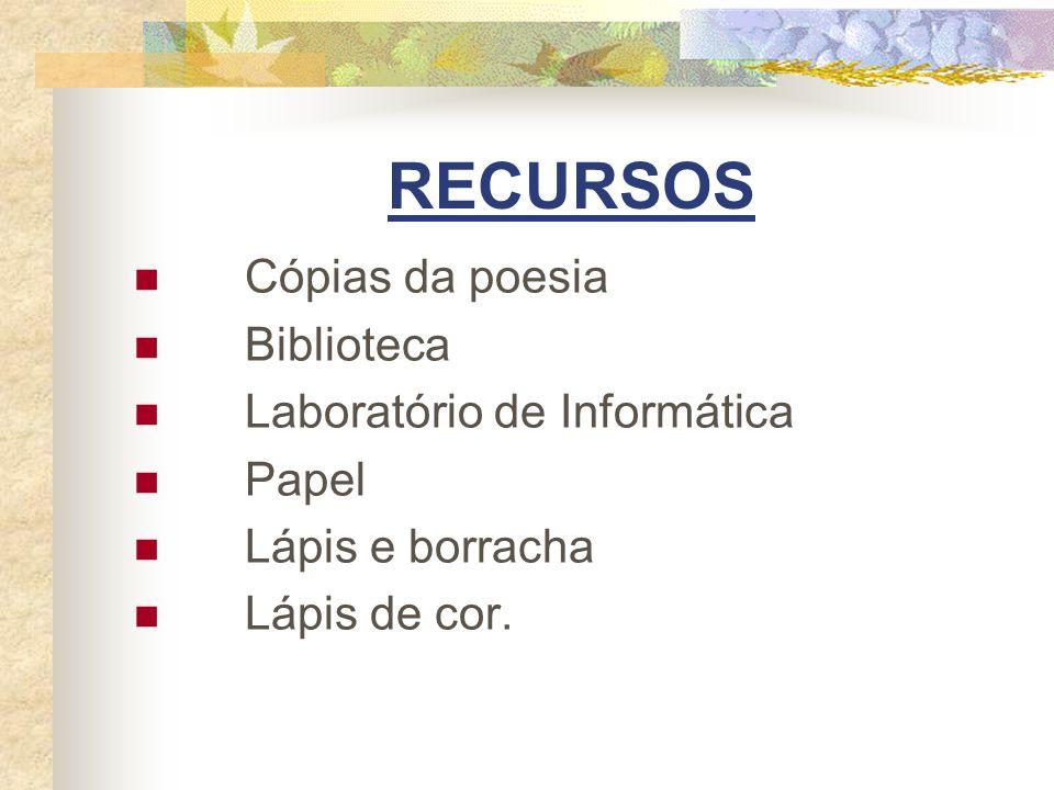 RECURSOS Cópias da poesia Biblioteca Laboratório de Informática Papel
