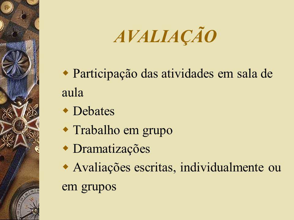 AVALIAÇÃO Participação das atividades em sala de aula Debates