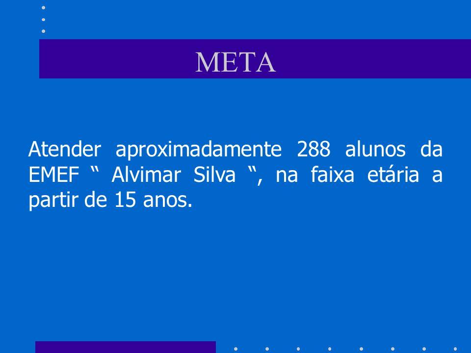 META Atender aproximadamente 288 alunos da EMEF Alvimar Silva , na faixa etária a partir de 15 anos.