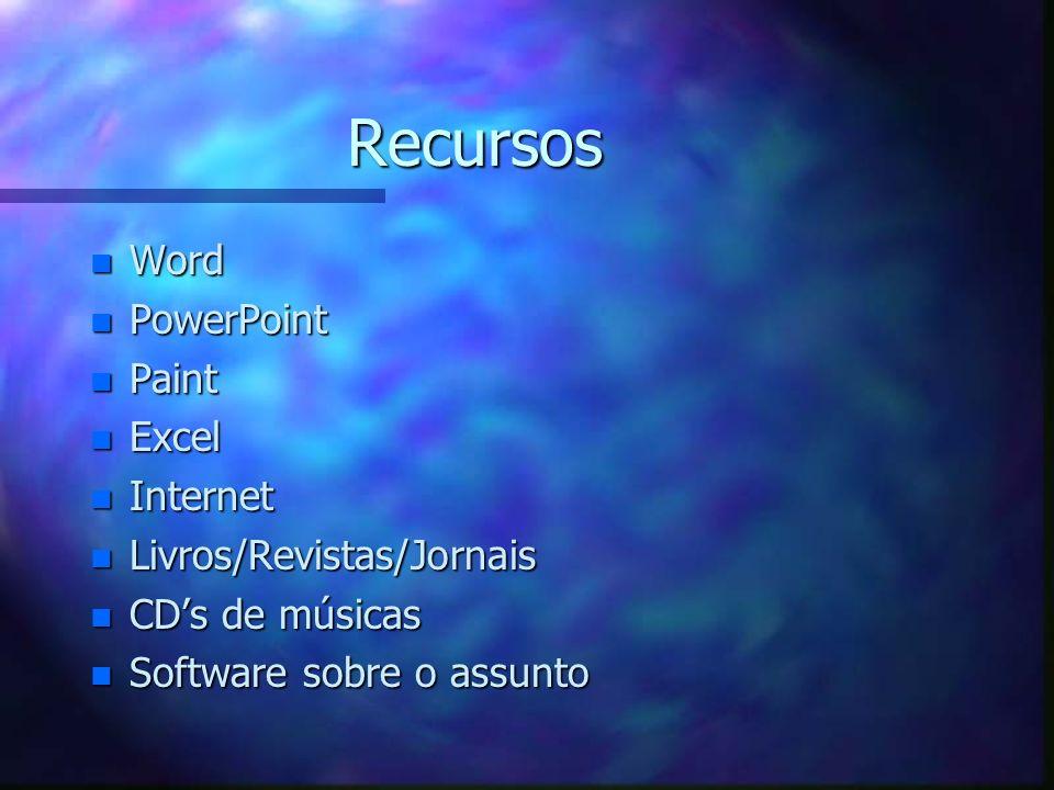 Recursos Word PowerPoint Paint Excel Internet Livros/Revistas/Jornais