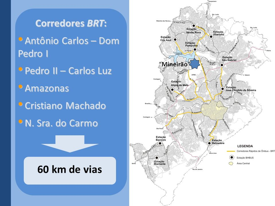 60 km de vias Corredores BRT: Antônio Carlos – Dom Pedro I