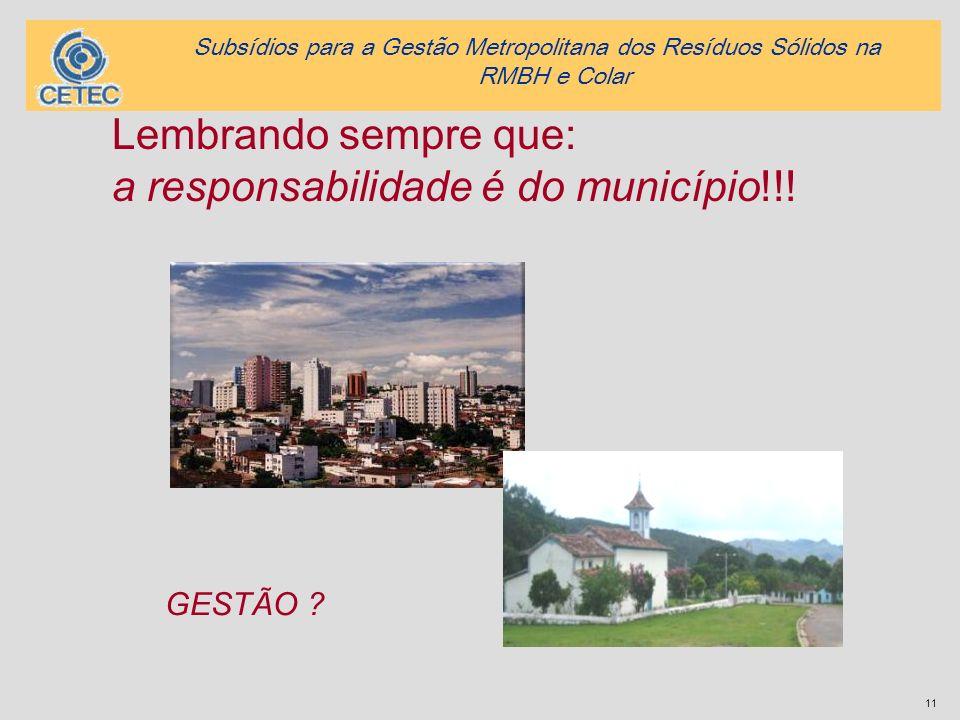 a responsabilidade é do município!!!