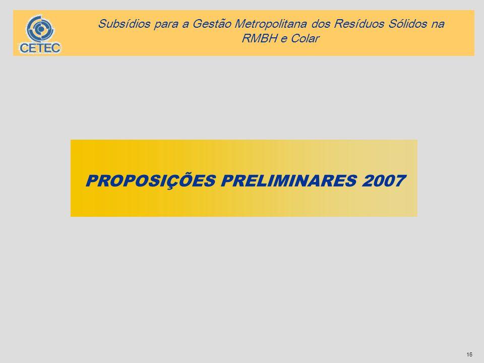 PROPOSIÇÕES PRELIMINARES 2007