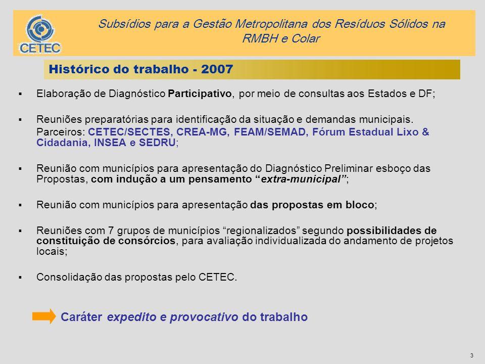 Histórico do trabalho - 2007