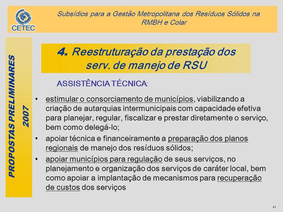 4. Reestruturação da prestação dos serv. de manejo de RSU