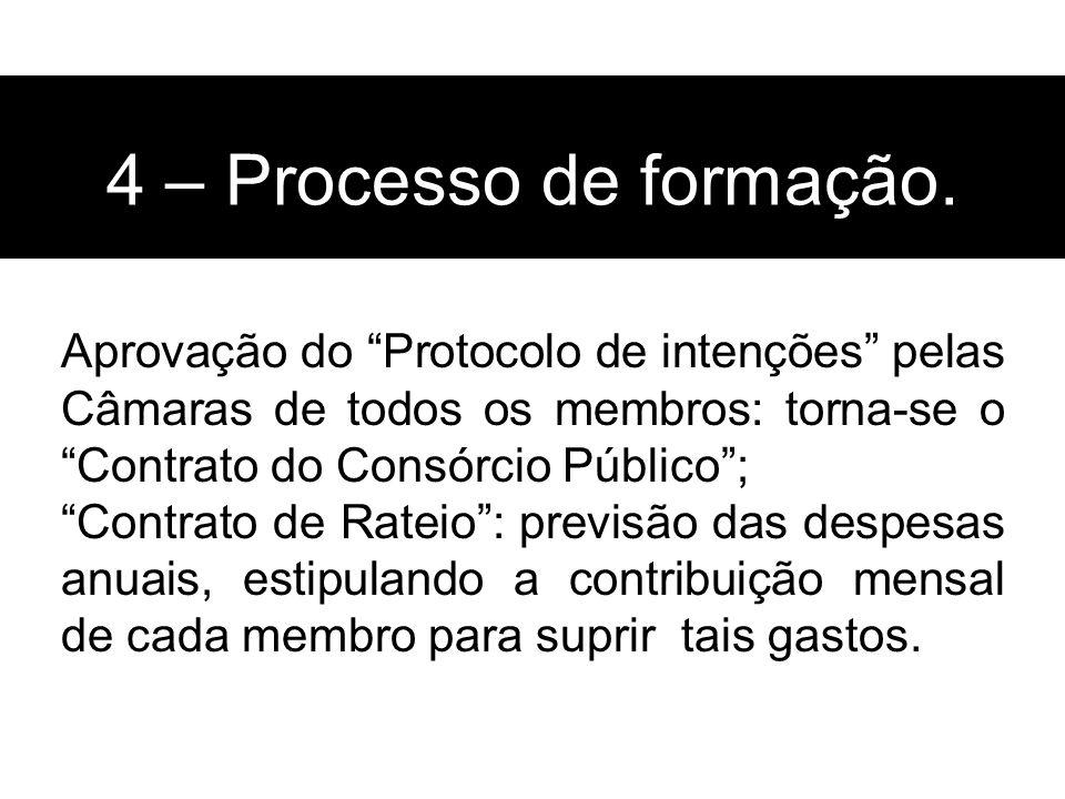 4 – Processo de formação. Aprovação do Protocolo de intenções pelas Câmaras de todos os membros: torna-se o Contrato do Consórcio Público ;