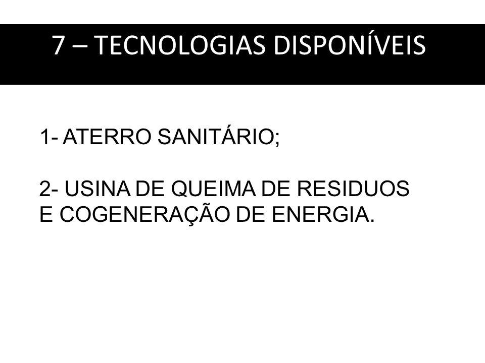 7 – TECNOLOGIAS DISPONÍVEIS: