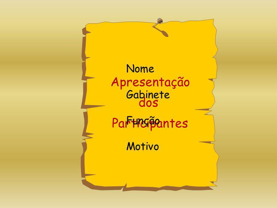 Nome Gabinete Função Motivo Apresentação dos Participantes
