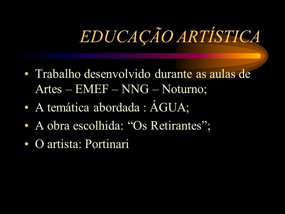 EDUCAÇÃO ARTÍSTICA Trabalho desenvolvido durante as aulas de Artes – EMEF – NNG – Noturno; A temática abordada : ÁGUA;