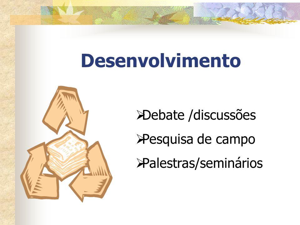 Desenvolvimento Debate /discussões Pesquisa de campo