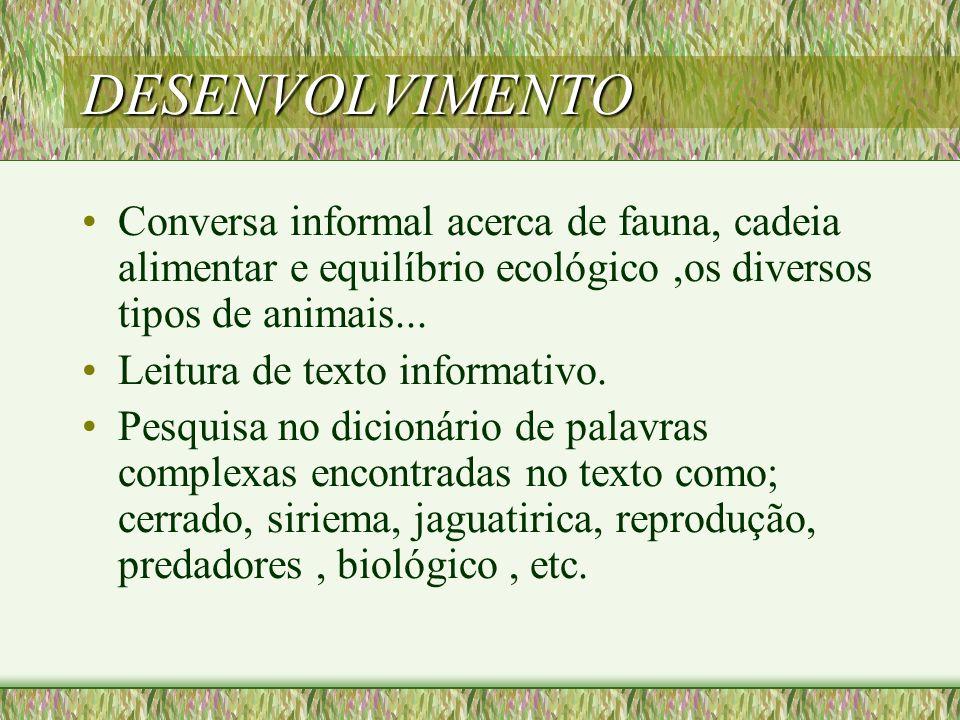 DESENVOLVIMENTO Conversa informal acerca de fauna, cadeia alimentar e equilíbrio ecológico ,os diversos tipos de animais...