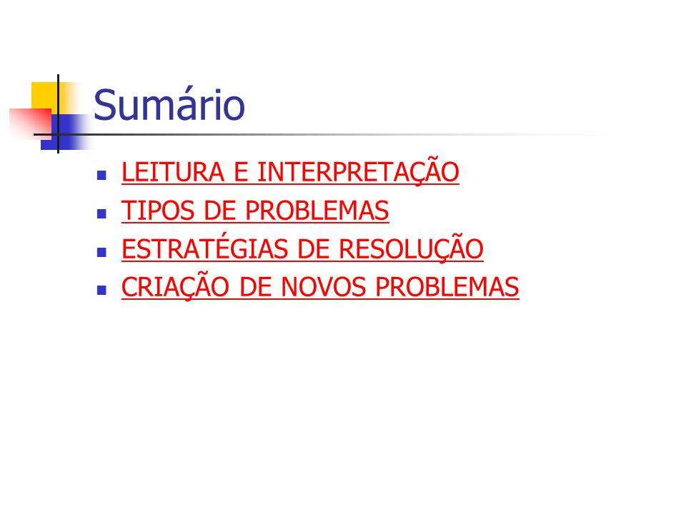 Sumário LEITURA E INTERPRETAÇÃO TIPOS DE PROBLEMAS